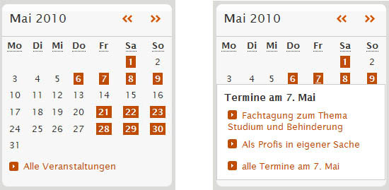 Calendar on einfach-teilhaben: normal view and with dynamic element shown