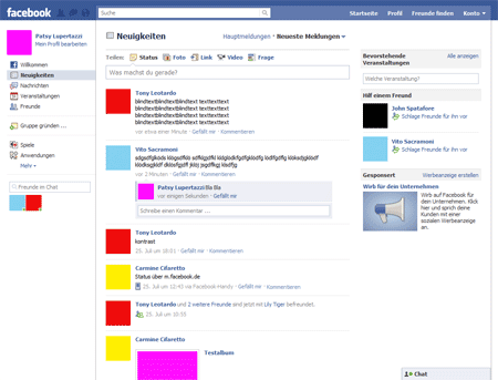 Screenshot of Facebook home page after login